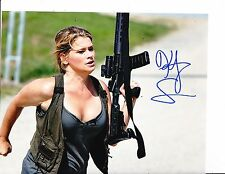 SWAMP SHARK KRISTY SWANSON SIGNED CLEVAGE WITH GUN 8X10
