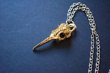 gold tone bird skull necklace Kitsch geek witch goth