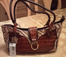 "MADI CLAIRE ""SEBRA"" ZEBRA PRINT CROCO EMBOSSED LEATHER SATCHEL"