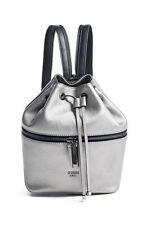 NWT GUESS $98 Jerry Metallic Zip Backpack Hobo Handbag Metallic Pewter Silver