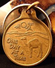 Alcoholics Anonymous Bronze AA One Day At A Time Keychain Medallion Coin Camel