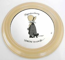 HOLLY HOBBIE ROUND MIRROR WOODEN FRAME HAPPINESS IS HAVING SOMEONE TO CARE FOR