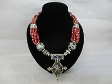 Moroccan african Berber Cross Coral artisan Inlaid  necklace