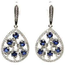 Hi End Tanzanite Gemstone Drop Earrings &  AAA White CZ Weimaraner Rescue