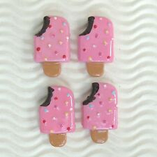 "US SELLER- 10 pcs x (1 1/8"") Resin Ice Cream Bar Flatback Bead Appliques SB619P"