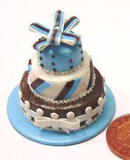 1:12 Scale Azul & Brown 3 Niveles Pastel De Bodas Casa de muñecas en miniatura accesorios T