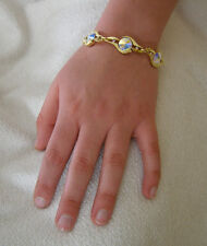 SWAROVSKI CRYSTAL ELEMENTS AURORE BOREALE  BRACELET 14KT YELLOW GOLD PLATED