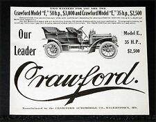 "1907 OLD MAGAZINE PRINT AD, CRAWFORD AUTOMOBILES, MODEL ""F"" 50 HP AND ""E"" 35 HP!"