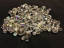 1/4 POUND LOT (4 OZ) VINTAGE CRYSTAL GLASS BEADS MIXED SIZES SHAPES REPAIR LOOSE