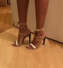 River Island White, Gold And Beige Lace Up Heels Size 5