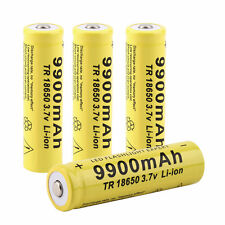 4pcs Li-ion Rechargeable Battery For LED Flashlight Torch 3.7V 18650 9900mah BY