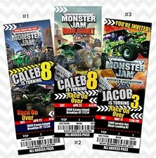 New! Monster Jam Invitation, Monster Jam Birthday, Grave Digger Ticket -Printed