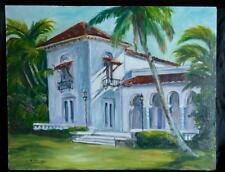 Vintage Florida Landscape Oil Painting Spanish Mission House Palm Tree