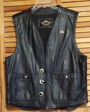 HARLEY-DAVIDSON MEN'S VEST BLACK LEATHER AND HOG HARLEY OWNER'S PIN
