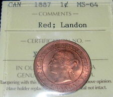 1887 Large Cent LANDON Certified aGEM BU KEY Pedigree MAGNIFICENT Victoria Penny