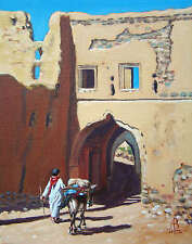 "SUPERB ALIX BAKER PCAFAS ORIGINAL ""Boy with a Donkey, Oman"" Arabian PAINTING"
