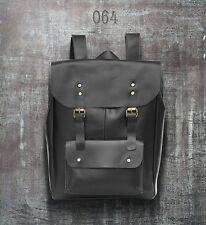 New Mens Geniune Leather Satchel School Shoulder Bag rucksack backpack black