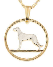 "Irish Wolfhound Coin Pendant Necklace Handcut - 3/4"" diameter , ( # 160 )"