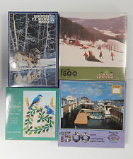 Lot 4 NEW SEALED Jigsaw Puzzles 1000 pc. Winter Wolves Boat Dock Quiltscapes