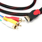 5FT HDMI Male to 3 RCA Video Audio AV Cable Cord Adapter For TV HDTV DVD 1080P