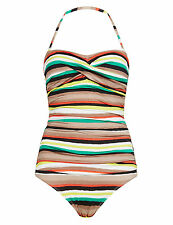 M&S COLLECTION Tummy Control Twisted Front Desert Striped Swimsuit Size UK16/EUR
