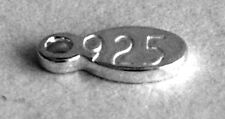 ONE STERLING SILVER 925 TINY SHINY OVAL CHARM / TAG, 8.5 X 3 MM