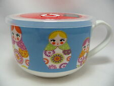 "Russian Dolls Microwave MicrowaveMe Soup Coffee Mug Bowl 5"" Steam Lid Oven Ciroa"