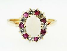 9Carat Yellow Gold Opal, Diamond & Ruby Cluster Ring (Size L 1/2) 9x11mm Head