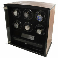 6 Slot Watch Winder Programmable LCD Digital Blonde Burl Wood