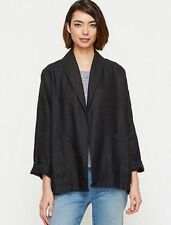 "NWT Eileen Fisher ""The Icons"" Black Organic Linen Shawl Collar Kimono Jacket M"