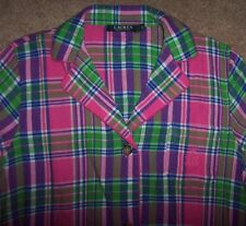 NWT Ralph Lauren Pink/Green/Purple PLAID FLANNEL Sleep Shirt Nightgown Gown L