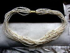 Vintage Anni '60 9 Strand Collana Collier +bianca Perle Di Acqua Dolce
