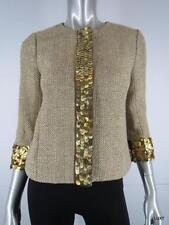 $495 TORY BURCH 2 XS Yellow Gray Silk Tweed Jacket Gold Paillettes Sequin Trim