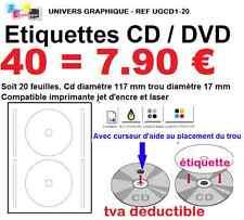 40 Etiquettes pour CD DVD autocollante pour imprimante jet d'encre  laser l7676