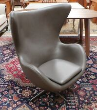 Mid Century Arne Jacobsen Egg Chair Brown Leather Repro