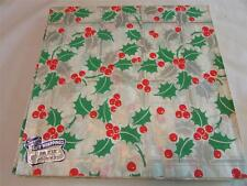 Vintage 1940's Holly & Berry Christmas Gift Wrap Wrapping Paper 2 Sheets NOS