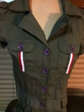 Awesome Shabby Apple Button-Up Dress, Size XSmall Green Military Work Mechanic