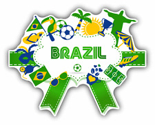 "Brazil Soccer Symbols Cartoon Car Bumper Sticker Decal 5"" x 4"""