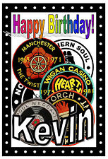 Personalised Northern Soul Birthday Card (Patches) - Gloss Finish - Any Name