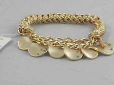 Kenneth Cole Goldtone Woven Pave' Accent Disc Drop Half Stretch Bracelet $42
