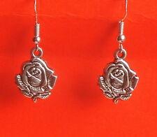 Bastante delicado Tono Plata Pendientes Colgantes/abandono de Flor Rosa 925 Plata Ganchos-UK