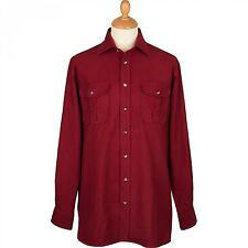 "BRAND NEW Cordings of Piccadilly Linton Moleskin Shirt Wine 16"" collar"