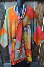 DILEMMA HAND PAINTED PICASSO INSPIRED SILK ART TO WEAR KIMONO & SCARF,OS