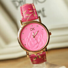 Lady Womens Watches 3D Camellia Diamond Leather Watches Floral Quartz Watch #3