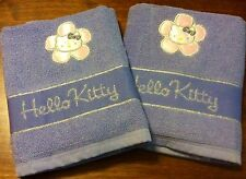 (2) Hello Kitty Hand Towels Purple Pink Embroidered Appliqué Flower Sanrio New