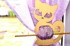 2 x rideau en bois clair tiebacks Cat en forme de boucle titulaire embrasses (Cu4)