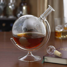 Whiskey Decanter Set Vodka Bourbon Spirits Alcohol Wine Etched Globe Glass Bar
