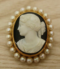 VTG 14K Yellow Gold, Genuine Pearl & Carved Black Agate Cameo Pendant or Pin!