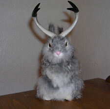 Realistic Lifelike Jackalope Sitting GY Rabbit Fur Furry Animal