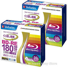 20 Verbatim Bluray Rewritable BD-RE 25GB 2X Inkjet Printable Blu-Ray Blank Discs